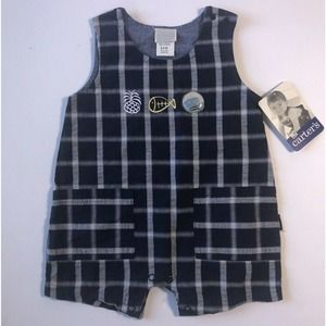 Carter Kids Plaid Overall Shorts 6 to 9 Months Med